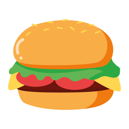 burger fast food on white background vector illustration Иллюстрация