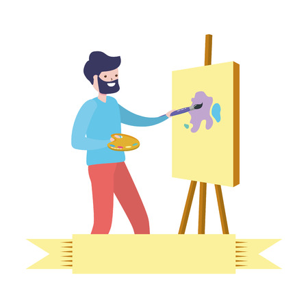 man painting a picture - my hobby vector illustration Ilustracja