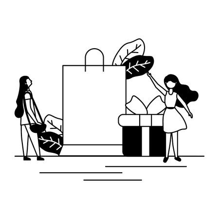 women online shopping bag gift vector illustration