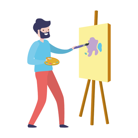 man painting a picture in the easel - my hobby vector illustration Archivio Fotografico - 124331865
