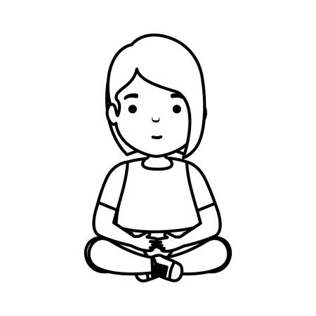 cute little girl seated character vector illustration design