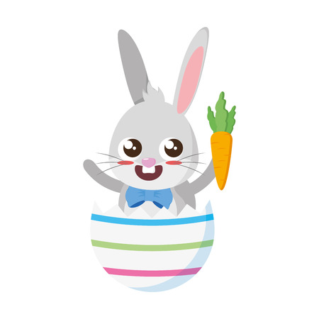 beautiful rabbit with carrot in egg shell vector illustration design
