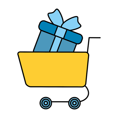 shopping cart with gift vector illustration design