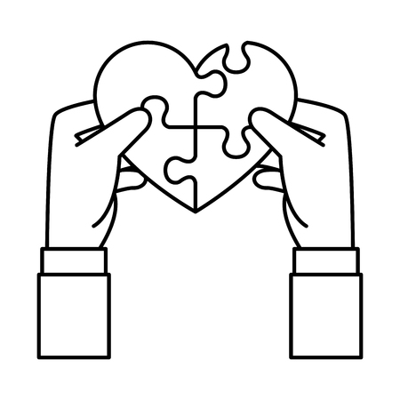 hands lifting heart with puzzle attached solution vector illustration design Banque d'images - 124331917