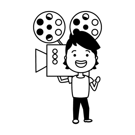 man with cinema projector avatar character vector illustration desing