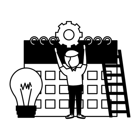 businessman clock time calendar bulb gear