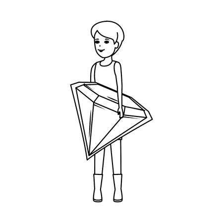 woman lifting diamond luxury vector illustration design Standard-Bild - 124331976
