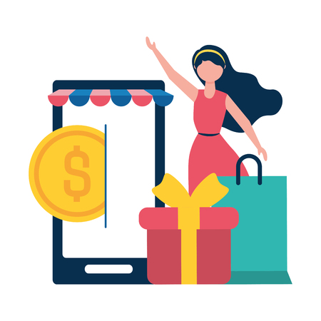 woman online shopping cellphone gift money vector illustration
