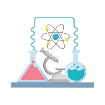 science laboratory tools test tube microscope vector illustration Çizim