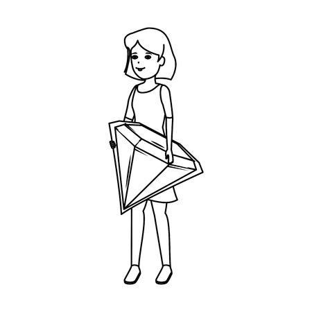 woman lifting diamond luxury vector illustration design Standard-Bild - 124332089