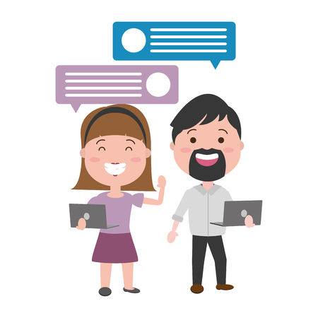 couple with laptop and speech bubble vector illustration desing