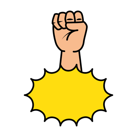 hand up fist with explosion pop art vector illustration design