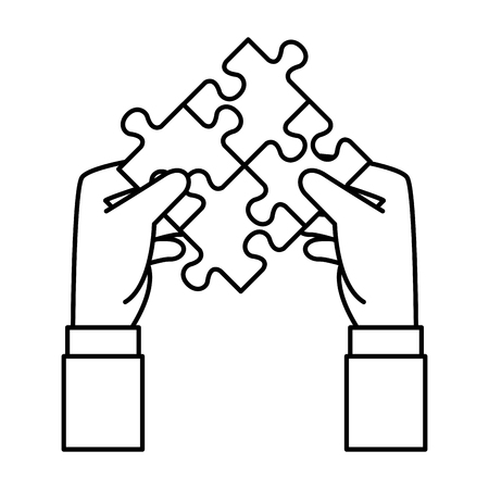 hands lifting puzzle attached solution vector illustration design Stockfoto - 124332127