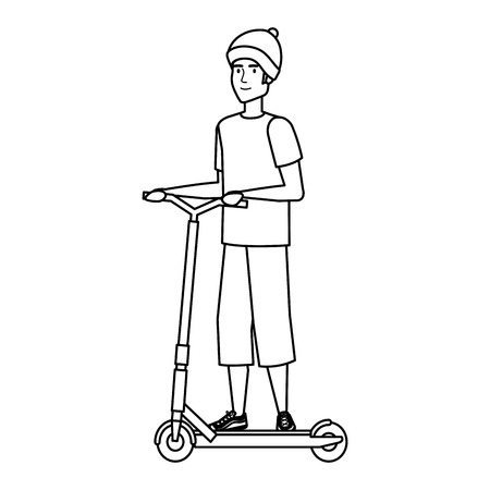 young man in folding scooter vector illustration design Imagens - 124332138