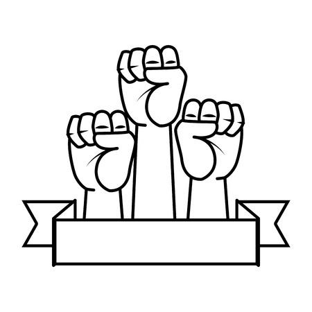 mani in alto pugni icone illustrazione vettoriale design