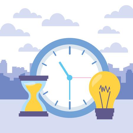 horloge, heure, sablier, ampoule, icônes, vecteur, illustration