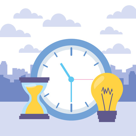 clock time hourglass bulb icons vector illustration