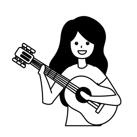 woman playing guitar - my hobby vector illustration Stock Illustratie