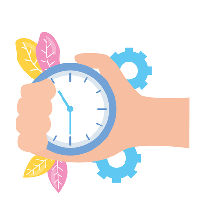 hand with clock time work gears vector illustration Stok Fotoğraf - 124332247