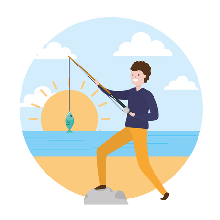 man with fishing rod fish - my hobby vector illustration