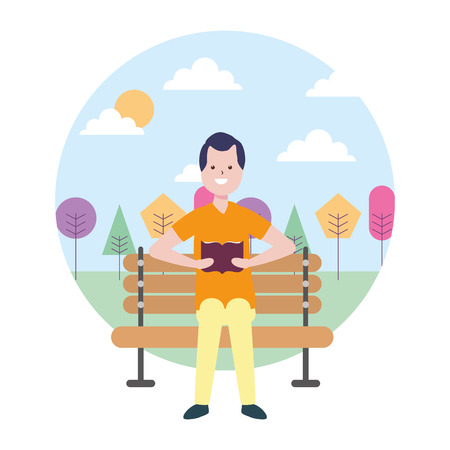 man reading book bench in the park vector illustration Stock fotó - 124332324