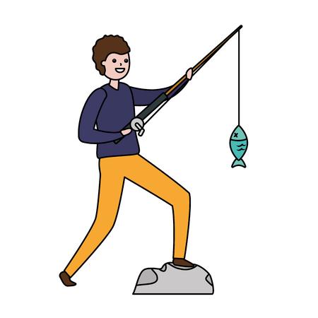 man with fishing rod fish vector illustration  イラスト・ベクター素材