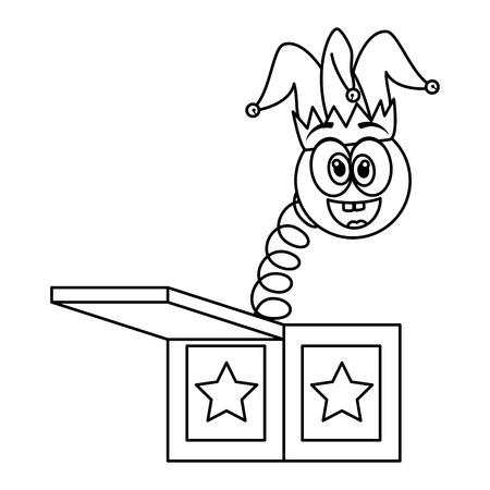 surprise box with emoji and joker hat vector illustration design