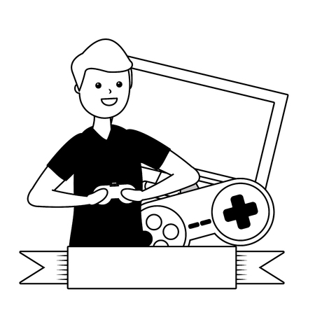 man playing video game - my hobby vector illustration 版權商用圖片 - 124334042