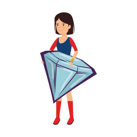 woman lifting diamond luxury vector illustration design Standard-Bild - 124334140