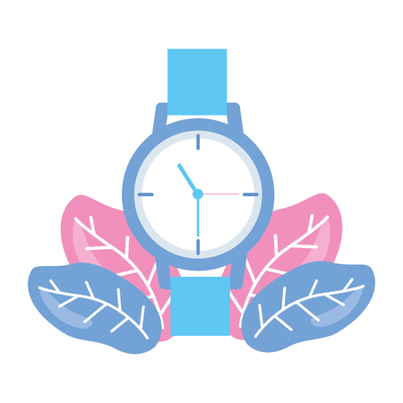 wristwatch time icon leaves on white background vector illustration