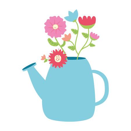 watering can with flowers gardening vector illustration Banco de Imagens - 124334195