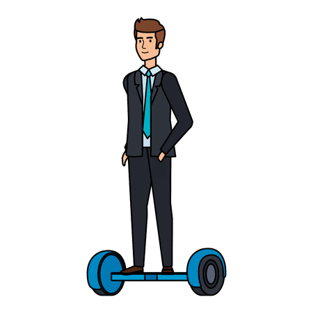 businessman in hoverboard electric vector illustration design