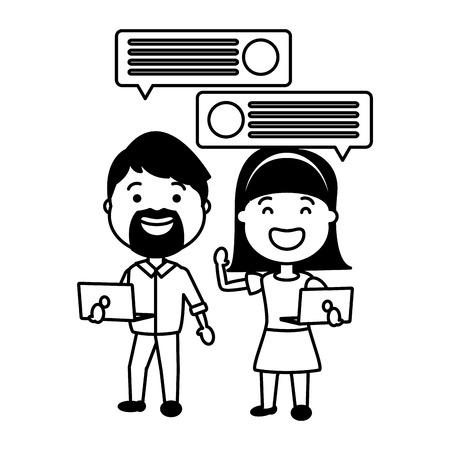 couple with smartphone and speech bubble vector illustration desing Vektoros illusztráció
