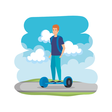 young man in hoverboard electric on road vector illustration design