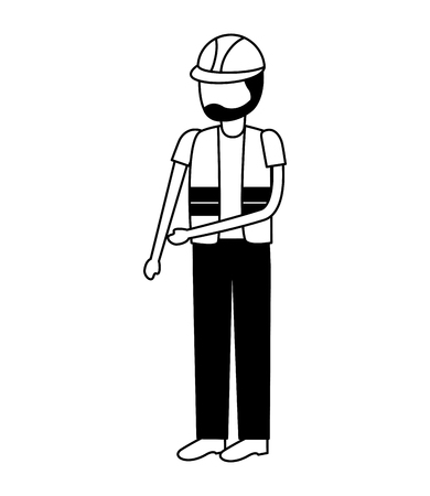 worker construction with helmet and vest vector illustration Çizim