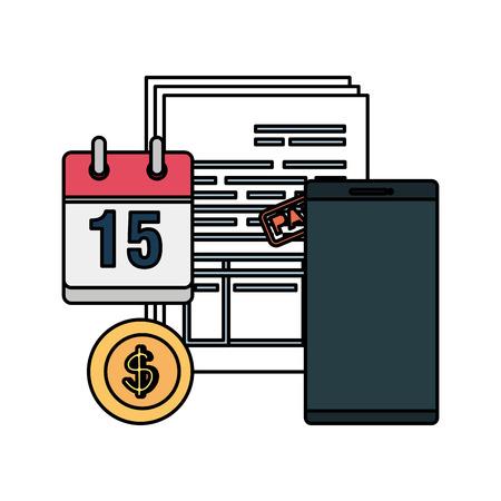 tax documents with calendar and smartphone vector illustartion design Illustration