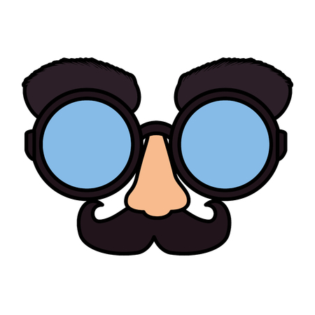 Fools day masque lunettes et moustache vector illustration design Vecteurs