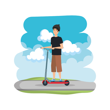 young man in folding scooter on road vector illustration design Imagens - 124334441
