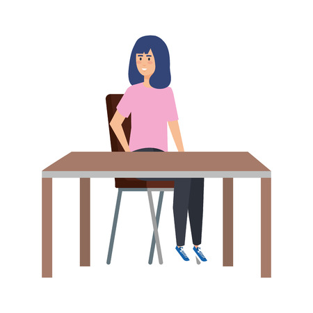young woman sitting in chair and table vector illustration design Stock Illustratie