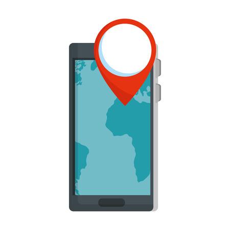 smartphone with pin gps app vector illustration design Çizim
