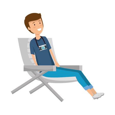 tourist man sitting in chair character vector illustration design