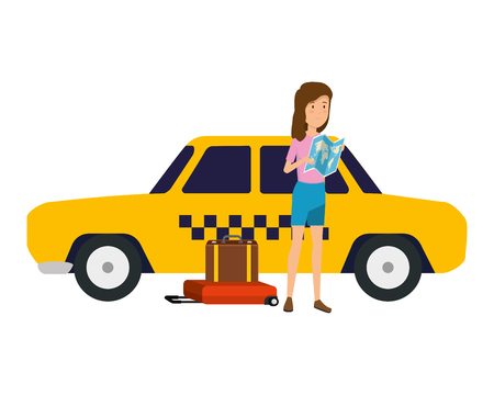 tourist woman with paper map and suitcase and hat vector illustration design Standard-Bild - 124334529