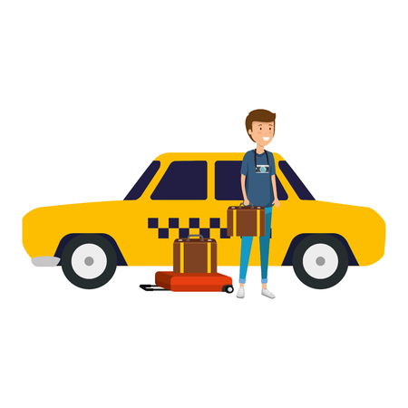 tourist man with suitcases and taxi character vector illustration design Standard-Bild - 124334531