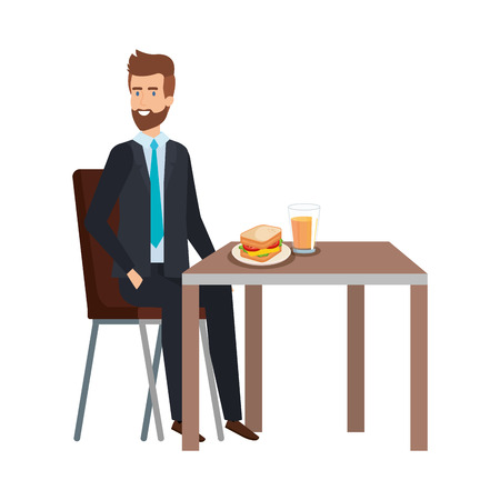 young businessman eating in table vector illustration design