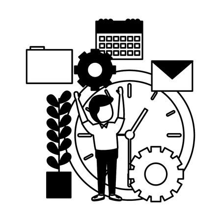 businessman with clock gear calendar email file vector illustration