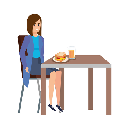 elegant businesswoman eating in table vector illustration design
