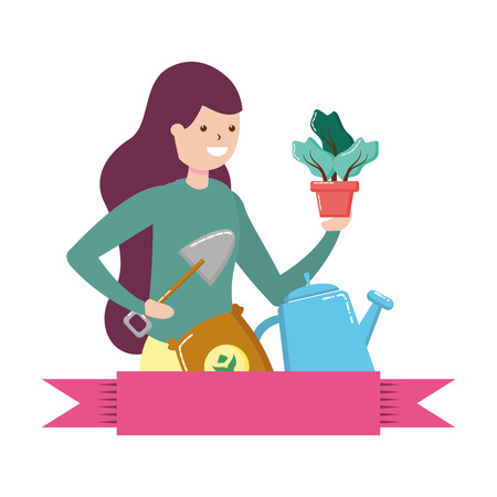 woman shovel soil gardening hobby vector illustration
