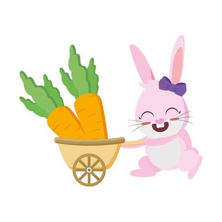 cute rabbit carrying carrots in stroller vector illustration