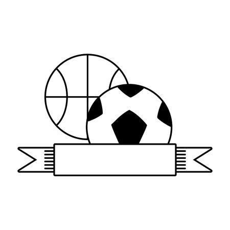 basketball and football balls ribbon vector illustration