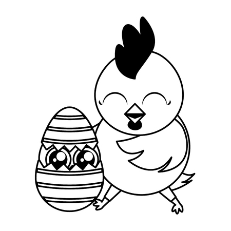 happy easter hen and chick egg vector illustration